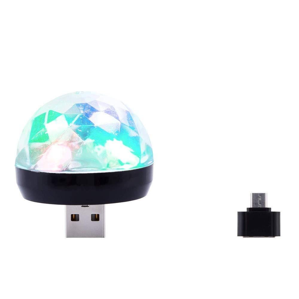 Livoty USB Mini LED RGB Disco Stage Light Party Club DJ KTV Xmas Magic Phone Ball Lamp with Android Mico-USB Port (Black)