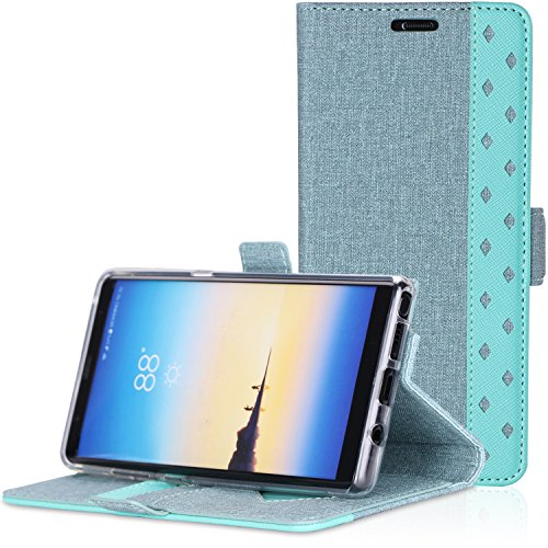 ProCase Galaxy Note 8 Wallet Case, Folio Folding Wallet Case Flip Cover Protective Case for Galaxy Note 8 2017 Release, with Card Slots and Kickstand -Teal
