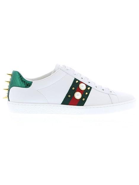 Gucci Mujer 431887 a38g09064 Blanco Piel Zapatillas 5bb2f0d1a08
