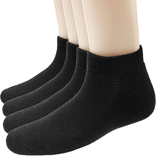 Men No Show Athletic Socks - Low Cut Cotton Crew Running Ankle Sock for Women Pack of 4 Color Black Size 6-11