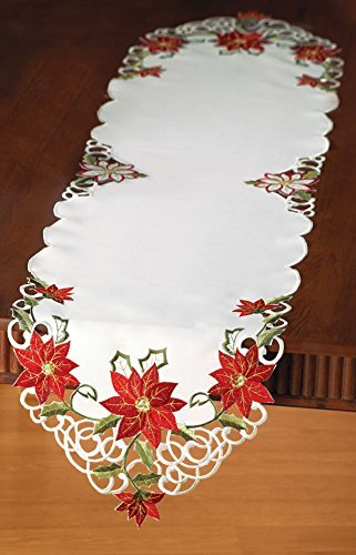 Collections Etc Embroidered Christmas Poinsettia Table Linens, ()