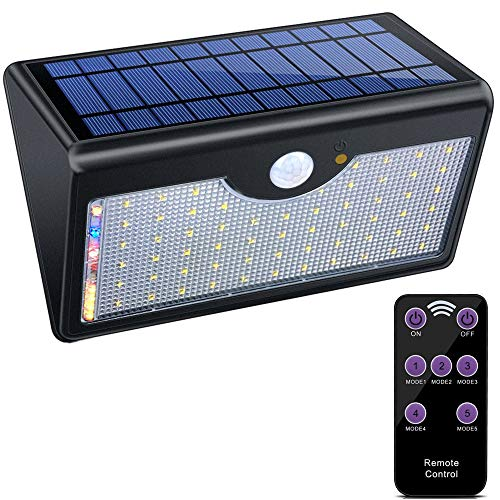 - Patio Lights Solar Lights 60 LED 1300 Lumen Outdoor Motion Sensor Lights, Waterproof Wireless Remote Solar Security Wall Lights, 5 Modes for Patio Garden Deck Yard Pathway Driveway DIY