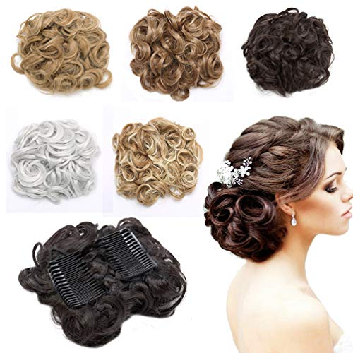 Messy Curly Combs Hair Bun Extensions Easy Stretch Hair Dish Chignon Clip in Updo Hairpiece Ponytail Scrunchy Accessory for Women 95g Jet Black