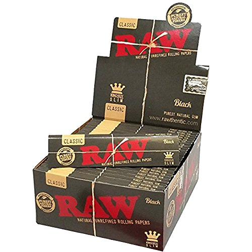RAW Classic Black King Size Slim Natural Unrefined Ultra Thin 110mm Rolling Papers (50 Packs)