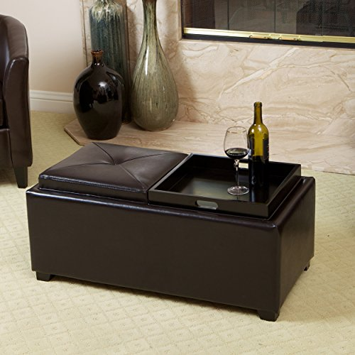 Great Deal Furniture Kenwell 2-Tray-Top Espresso Leather Tray Ottoman