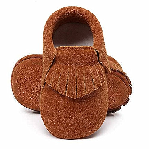 - HONGTEYA Baby Tassel Shoes Soft Leather Sole - Girls Boys Grid Moccasins Crib Toddlers Suede Shoes (18-24 Months/US 7.5/5.71''/ See Size Chart, Suede Brown)