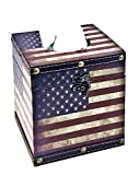 Bellaa 28298 USA Flag Tissue Holder American Decorative Vintage Design Hinged Refillable Cover