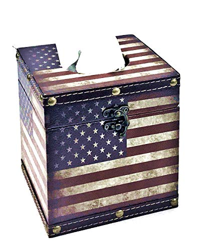 (Bellaa 28298 American Flag Tissue Box Holder Cover Square 6inch)