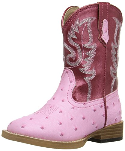 (Roper Bumps Square Toe Ostrich Boot (Infant/Toddler/Little Kid/Big Kid), Pink, 11 M US Little Kid)