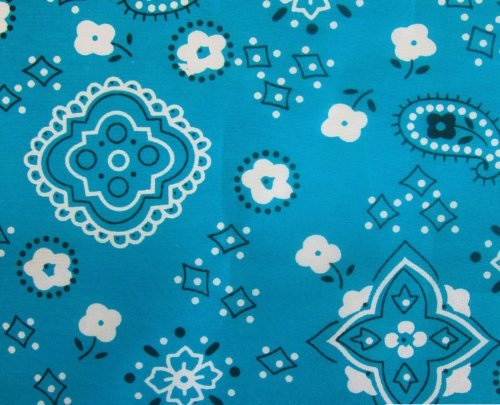 Bandana Turquoise Poly Cotton 58 Wide Fabric By the Yard (F.E.®) ()