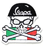 Vespa Skull Cross Helmet Italy Flag Racer Piaggio Scooter Lambretta Motorcycle Logo Sign Biker Racing Patch Iron on Applique Embroidered T shirt Costume BY SURAPAN