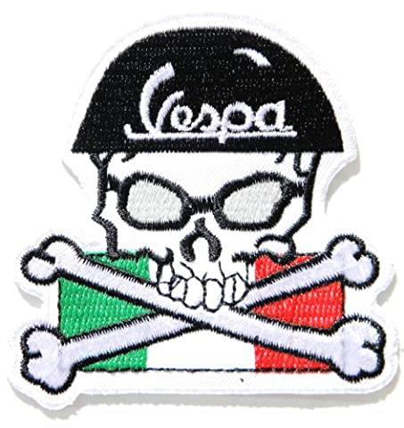 Vespa Skull Cross Helmet Italy Flag Racer Piaggio Scooter Lambretta Motorcycle Logo Sign Biker Racing Patch Iron on Applique Embroidered T shirt Costume BY - Vespa Cable