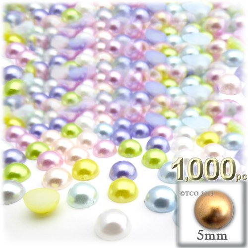 the-crafts-outlet-1000-piece-pearl-finish-half-dome-round-beads-5mm-pastel-mix