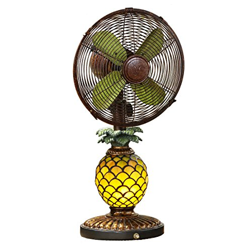 DecoBREEZE Oscillating Table Fan and Tiffany Style Table Lamp