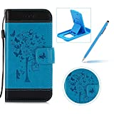 Strap Leather Case for LG G6,Carrying Wallet Pouch Cover for LG G6,Herzzer Premium Stylish Elegant [Blue Butterfly Tree Girl Pattern] Color Stitching PU Leather Flip Fold Stand Card Holders Smart Case Cover for LG G6 + 1 x Free Blue Cellphone Kickstand + 1 x Free Blue Stylus Pen