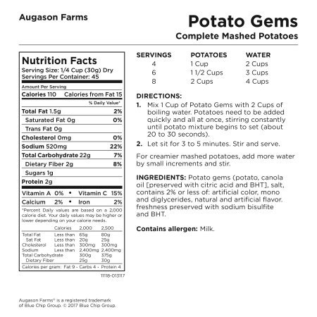PACK OF 3 - Augason Farms Potato Gems Complete Mashed Potatoes 3 lbs No. 10 Can