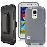 Galaxy S5 Case Belt Clip,Harsel Heavy Duty Defense Shockproof 3 layer Durable Protection Holster Case Cover w/ Clear Built-in Screen Protector & Rotating Stand for Samsung Galaxy S5 (Gray White)