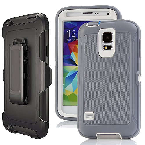 Galaxy S5 Case Belt Clip,Harsel Heavy Duty Defense Shockproof 3 layer Durable Protection Holster Case Cover w/ Clear Built-in Screen Protector & Rotating Stand for Samsung Galaxy S5 (Gray (Durable Stand)