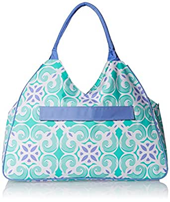 "Water Resistant Beach Bag with Inside Lining and Top Handle - 22"" Long (Sea Tile)"