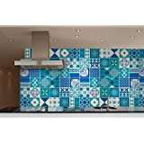 Wall Sticker Tile Kitchen Backsplash Decoration Blue Indigo Decal (Pack with 36) (4 x 4 inches)