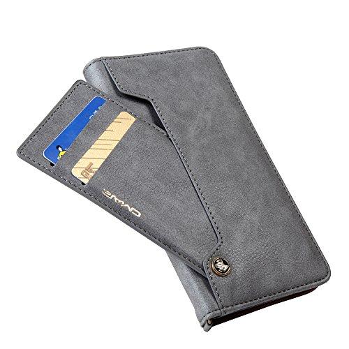 Eouine iPhoneXs/iPhoneX ケース 手帳型 全5色 スライド式カードポケット 手作りの高級PUレザー ストラップホール 付き アイフォンX/Xs 耐衝撃カバー 高級PUレザー マグネットとスタンド機能付き グレー