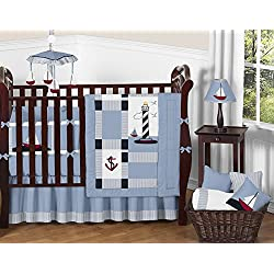 Sweet Jojo Designs Come Sail Away Nautical Sail Boat Blue and white Baby Boy Bedding 9pc Crib Set