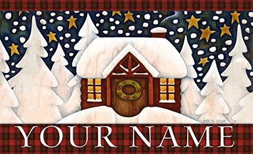 Toland – Snowy Cabin Personalized Customizable Indoor Outdoor Welcome Door Mat USA-Produced