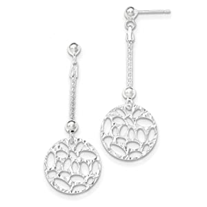 .925 Sterling Silver 50 MM Textured Openwork Dangle Post Stud Earrings