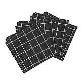 Roostery Black And White Grid Squares Check Black White Windowpane Linen Cotton Dinner Napkins White And Black Windowpane by Peacoquettedesigns Set of 4 Dinner Napkins