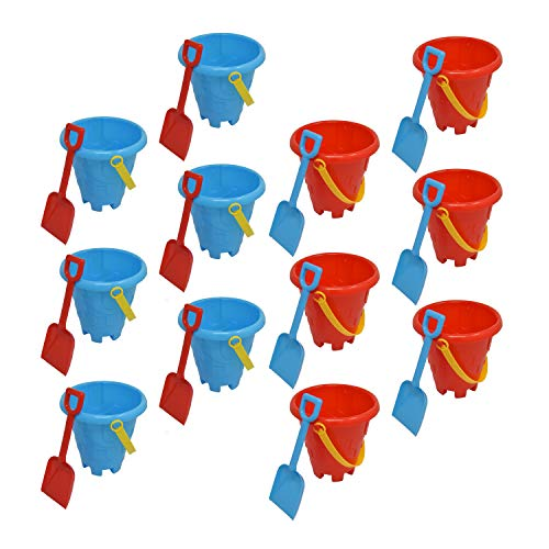 Beachgoer Bulk Pack of 12 6-Inch Sand Castle Buckets with Shovel - Assorted Colors - for Sandcastles Beach Toy Summer Party Favors