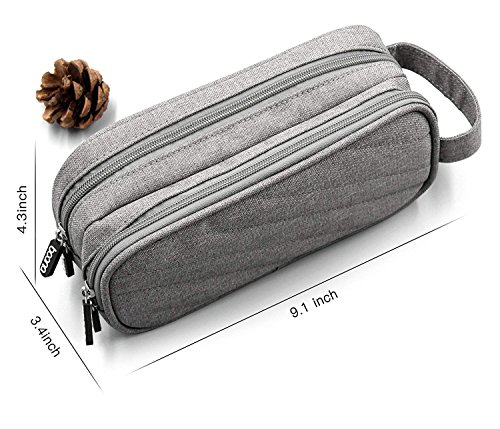 Electronics Accessories Organizer Bag, Double Layer Cable Cord Management Bag, Travel Camping Gear, Small Gadget Pouch for Plugs, Earphone and More(Grey) by YOYL (Image #2)
