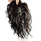 Remeehi 5.5''x6'' Mono Base Hand Made Tied Human Hair Hair Topper Natural Curly Hair Top Piece Natural Black (30cm/11.8inch)