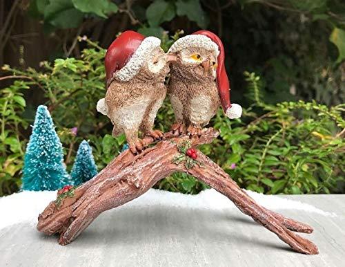Figurine Mistletoe - Miniature Fairy Garden Figurine ~ Mini Christmas Mistletoe Owls Kissing ~ New