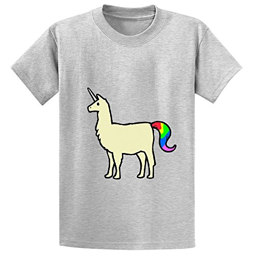 llamacorn yellow Teen Crew Neck Customized Tees Grey
