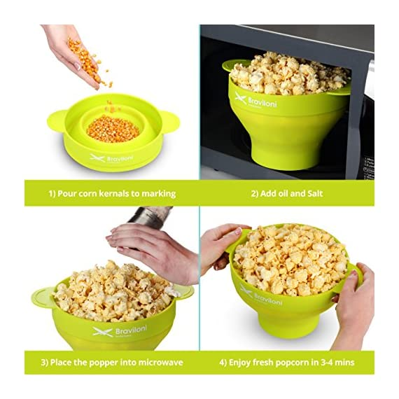 Popcorn Maker 7 ♨ DELICIOUSNESS IN MINUTES: The Braviloni microwave popcorn popper with lid whips up to 14 cups of popcorn in under 4 minutes; all without having to deal with the slowness of a stove top popcorn maker, the noisiness of electric hot air poppers, or the potentially harmful lining of microwavable popcorn bags. ♨ EASY TO USE: Simply add kernels to the quick pop maker, add seasoning, and place in the microwave. This is one of the most convenient popcorn poppers for home use thanks to the cool-touch handles for comfortable handling and graduated markings on the inner side of the bowl. ♨ COMPLETELY TOXIN FREE: Made using 100% FDA-approved food-grade silicone that is completely BPA-free, this is the best popcorn popper for making a healthy treat that the entire family will love. You can opt to use oil or skip on it entirely, making it perfect for those looking for popcorn poppers that use oil or poppers that can do without.