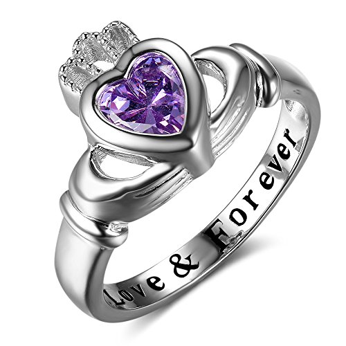 Personalized Claddagh Ring with Simulated Birthstone Love Forever Engraved Women Wedding Promise Ring (love & forever-Apr, 7)