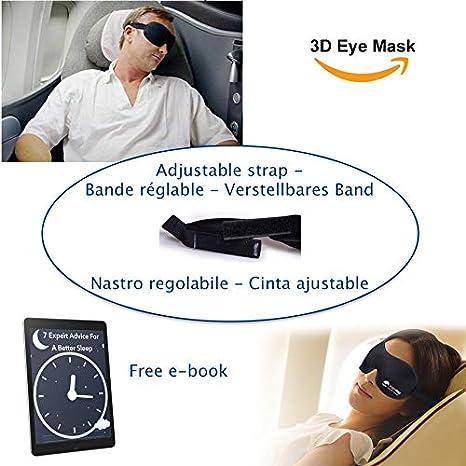 Masque de Sommeil avec Bouchons doreille et Sangle R/églable Noir Coolty 2pcs Ultra-Douce Masque