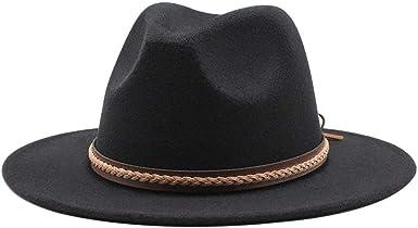Gossifan Classic Felt Fedora Panama Hat Wide Brim with Belt Buckle