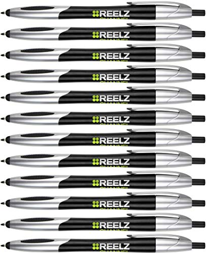 (Personalized Ink Pens with Stylus - Click action - The Glide -Custom - Black writing - Printed Name pens - Imprinted with Your Logo/Message - FREE PERZONALIZATION - 14 Pens/Box (Black))
