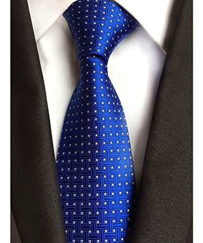 Men's Classic Royal Blue White Dot Tie Jacquard Woven Silk Tie Necktie + Gift Box