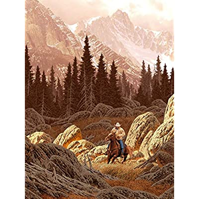 11 x 14 Inch Puzzle Cowboy Riding His Horse and The Rockies: Home & Kitchen