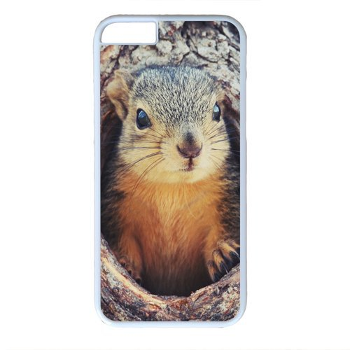 wskshop Couple iPhone 6 Case, Customized Cute Squirrel in the Tree Plastic Cover Case for iPhone 6(White)