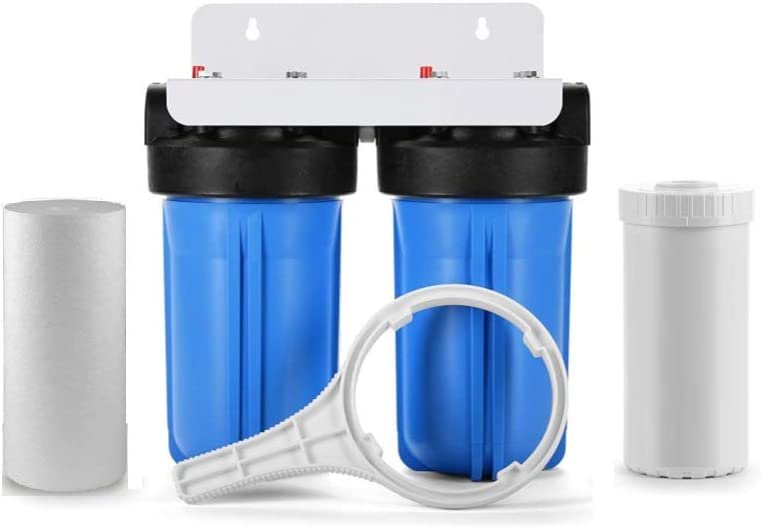 """Dual Stage Big Blue Whole House Water Filtration System w/KDF 
