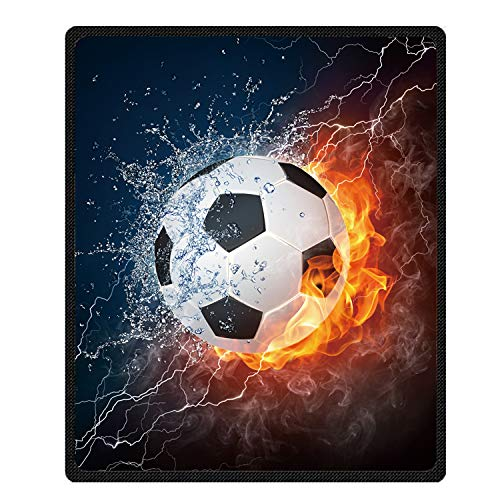 Kameng Soccer Ball in fire and Water Pattern Throw Blanket Soft and Comfortable Sofa/Bed Blankets 58