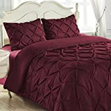 King & Queen Home Reinforced Double Stitch 3 Piece Pinch Pleat Comforter Set (Full, Burgundy)