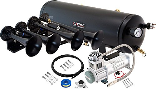 Vixen Horns Loud 149dB 4/Quad Black Trumpet Train Air Horn with 3 Gallon Tank and 200 PSI Compressor Full/Complete Onboard System/Kit VXO8330/4124B