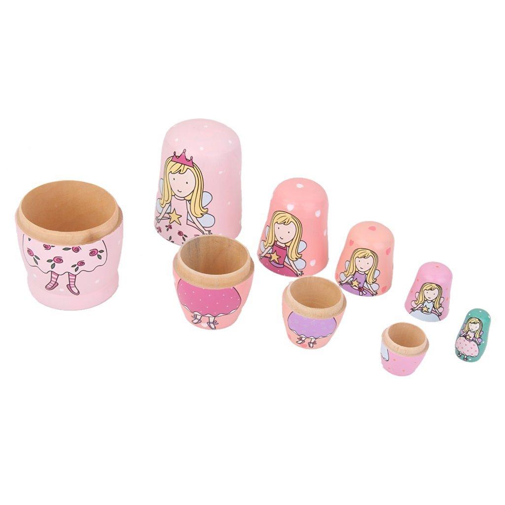 Unigift Set of 5 Cutie Lovely Cartoon Pink Green Puprle Angel Princess with Dress Nesting Dolls Matryoshka Russian Doll Popular Handmade Kids Girl Stacking Christmas Birthday Gifts Toy