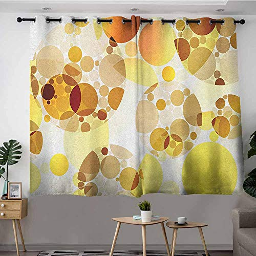 VIVIDX Custom Curtains,Polka Dots Graphic Dots Relational Diameters Globes 50s Culture in Modern Artprint,Grommet Curtains for Bedroom,W55x39L Yellow ()