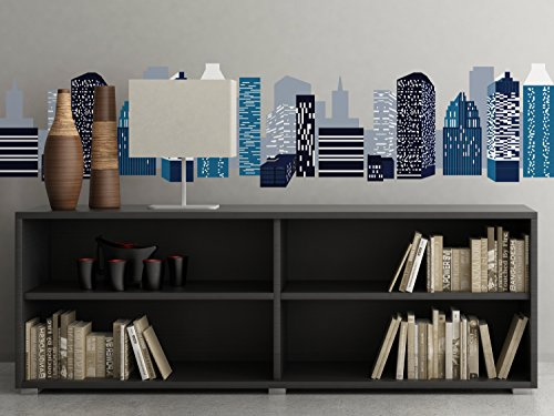 City Skyline Wall Border Fabric Wall Decal, Set of Two 25 Inch Wide Sections, Wall Border Decal Sticker, Children Wall Decal, Nursery Decor, Reusable (Large, City - Street On Stores Chestnut