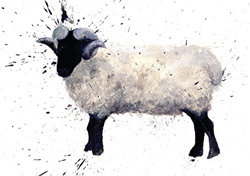 Sheep or Ram Greeting Card. Made From an Original Painting By Clare Brownlow. Printed on High Quality Artists Card. Envelope Included. Blank on the Inside for Any Message (Mints Printed Wrapped)